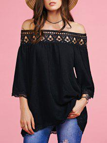 Off The Shoulder Lace Inset Blouse - Black L