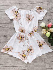 Buy Floral Print Shoulder Drawstring Romper - WHITE XL
