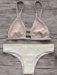 Two Tone Spaghetti Straps Bikini Set - Off-white Xl