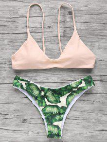 Bikini à Bretelle Spaghettis Imprimé Palmier - Rose Abricot Clair M
