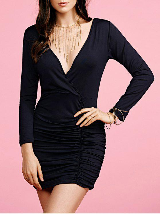 lady Plunging Neck Ruched Long Sleeve Party Dress - BLACK S
