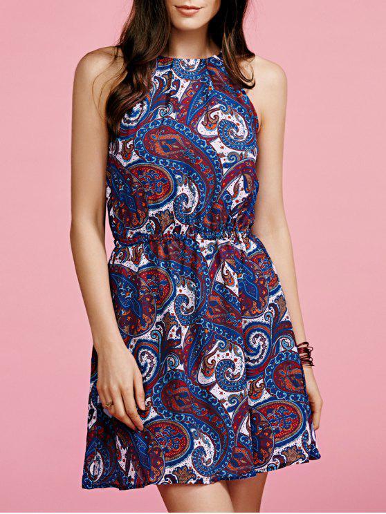 Paisley Imprimer Robe en mousseline de soie - Bleu 2XL
