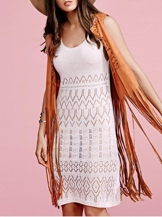 trendy Solid Color Cut Out Round Neck Sleeveless Crochet Dress - OFF-WHITE ONE SIZE(FIT SIZE XS TO M)
