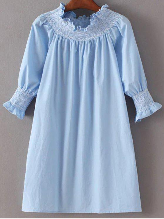 sale Off Shoulder Poplin Dress - LIGHT BLUE M