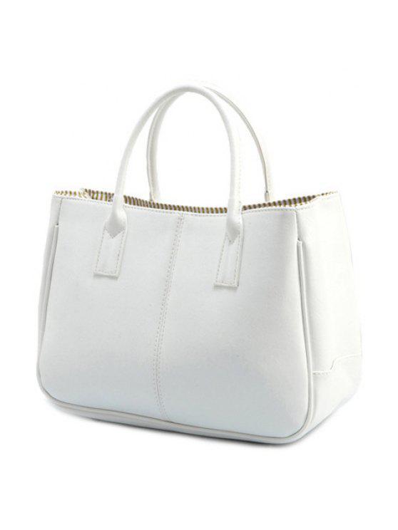 حقيبة توتي بلون الكاندي من الجلد المزيف - أبيض