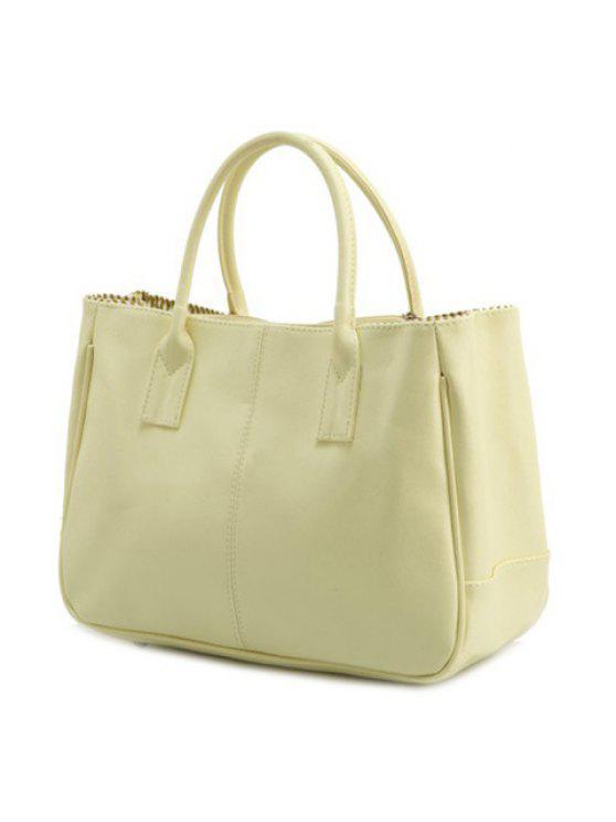 حقيبة توتي بلون الكاندي من الجلد المزيف - أبيض فاتح