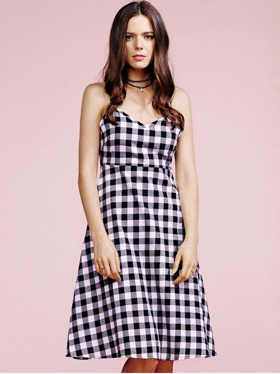 best Cami Plaid Dress - WHITE AND BLACK L