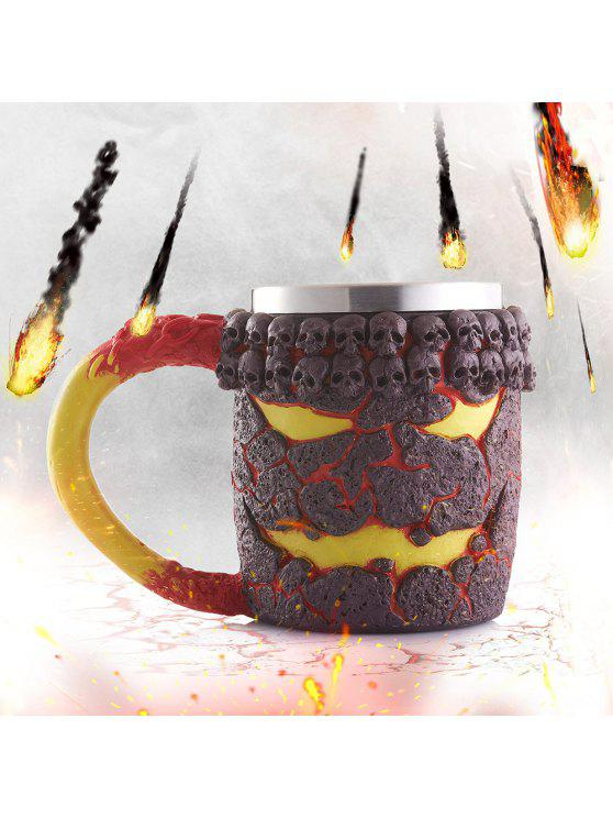 affordable 15OZ Creative Halloween Magma Monster Pattern Beer Cup For Bar Festive Decoration - TAN