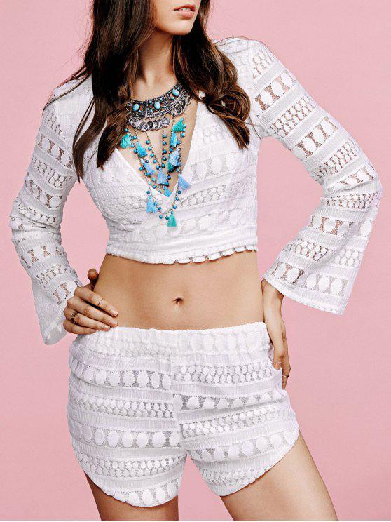 Con cuello en V Camiseta blanca y pantalones cortos de Twinset - Blanco M