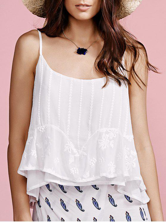 fancy Solid Color Cami Top - WHITE S