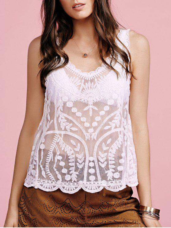 outfits Embroidered See-Through Round Neck Sleeveless Cover Up - WHITE ONE SIZE(FIT SIZE XS TO M)
