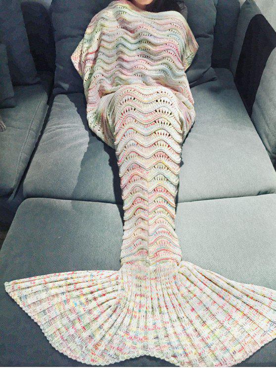 chic Handmade Knitted Mermaid Blanket - OFF-WHITE