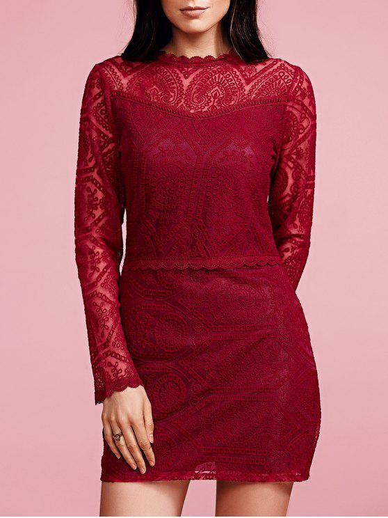 Sólido ColorRuffled manga comprida vestido de renda - Vinho vermelho M