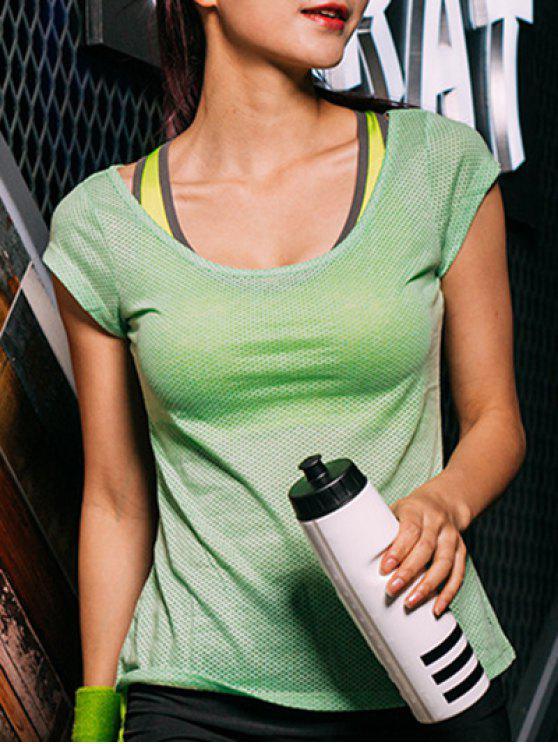 Camiseta del deporte del patrón de punto - Verde XL