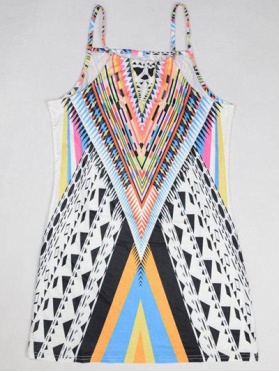 Robe Camisole Imprimée Géométrique - Multicolore S