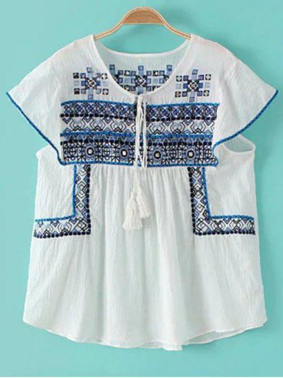 Bordado de la camiseta del blanco - Azul y Blanco S