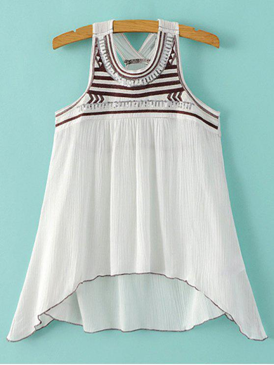 unique Embroidered Sequins Tank Top - WHITE S