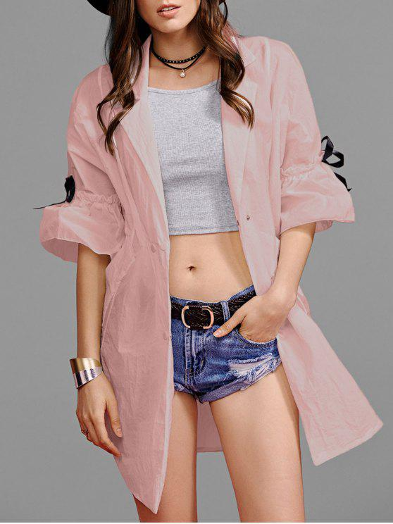 women Ruffle Sleeve Trench Coat - PINK M