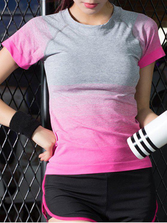 sale Gradient Color Stretchy T-Shirt - ROSE MADDER L