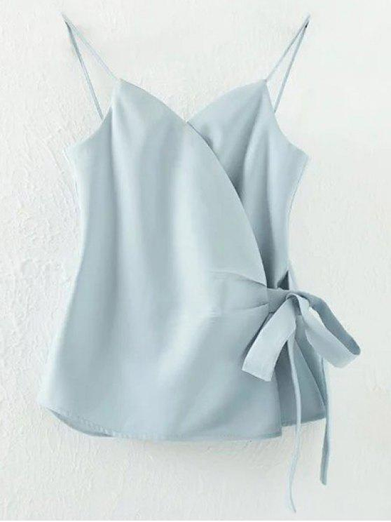 Solid Color Wrap Cami Top - Bleu clair L