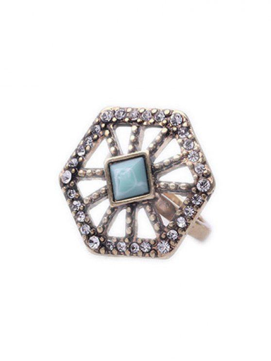 buy Rhinestone Hollow Out Polygonal Ring - GOLDEN