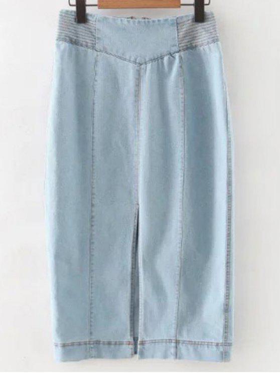 women Front Slit High Waisted Denim Skirt - LIGHT BLUE S