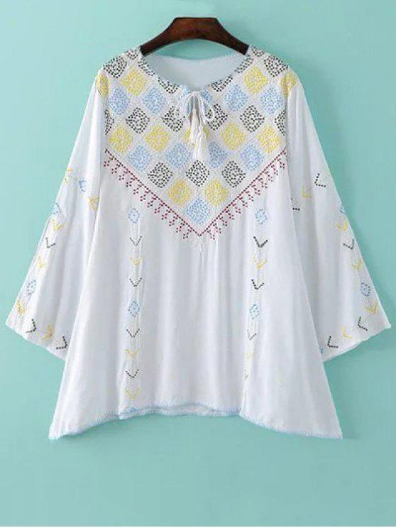 online Embroidery Round Neck Long Sleeve Blouse - WHITE M