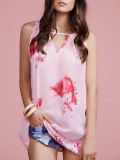 Flower Print Keyhole Neckline Sleeveless Dress - S