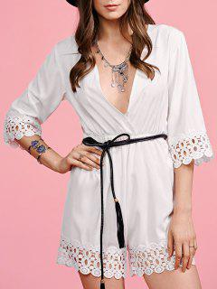 White Lace Splice Plunging Neck Playsuit - White M