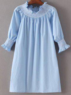 Off Shoulder Poplin Dress - Light Blue M