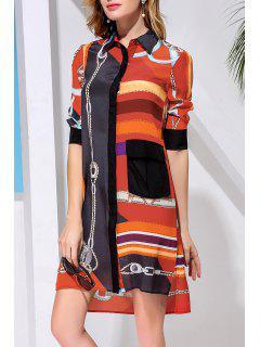 Retro Printed Shirt Dress - Jacinth Xl