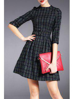 Checked Mini Dress With Belt - Green S