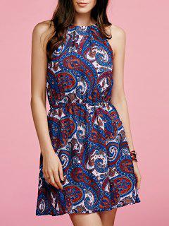 Paisley Print Chiffon Dress - Blue Xs