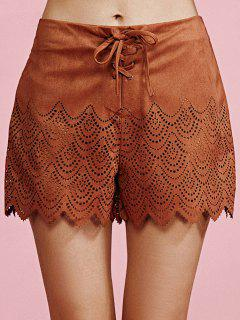 Faux Suede Cut Out High Waist Shorts - Camel S