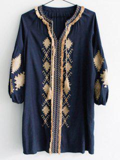 Sleeve Lantern Robe Contrastée - Bleu Violet