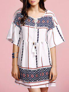 Ethnic Style Printed Round Neck Flare Sleeve Dress - White