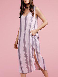 Plunging Neck Sleeveless High Slit Striped Dress - Gray S