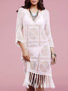 Solid Color Fringe Round Neck Long Sleeve Crochet Cover Up - White