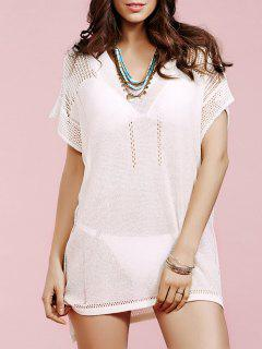 Loose Solid Color V Neck Short Sleeve Crochet Dress - White
