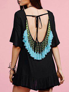 Low Back Fringed Dress - Black
