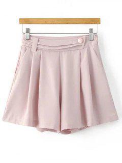Pantalones Cortos Plisados color Sólido - Rosa Luz M