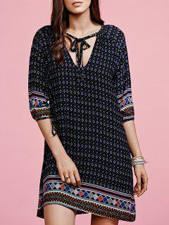 Ethnic Pattern V-Neck Half Sleeve Dress - Black M