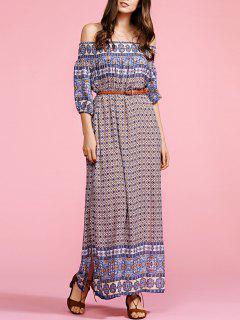 Ethnic Print Off The Shoulder Half Sleeve Maxi Dress