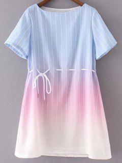 Striped Ombre Color Dress - Blue And Pink S