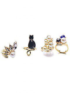 Faux Pearl Cute Rings - Golden