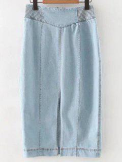 Jupe Fente En Denim Taille Haute  - Bleu Clair S