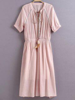 Pure Color V Neck Half Sleeve Dress - Pink