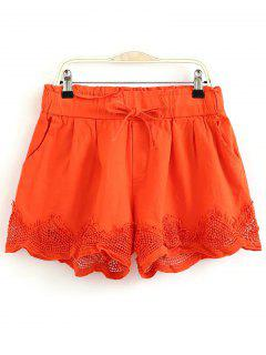 Crochet Splice Elastic Waist Drawstring Shorts - Sweet Orange M