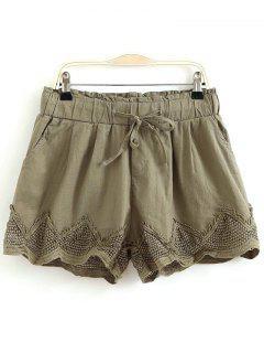 Crochet Splice Elastic Waist Drawstring Shorts - Army Green M