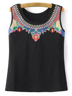 Retro Embroidery Round Neck Tank Top - Black S